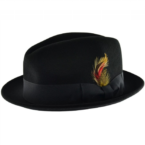 Black C-Crown Trilby Hat Wool Felt